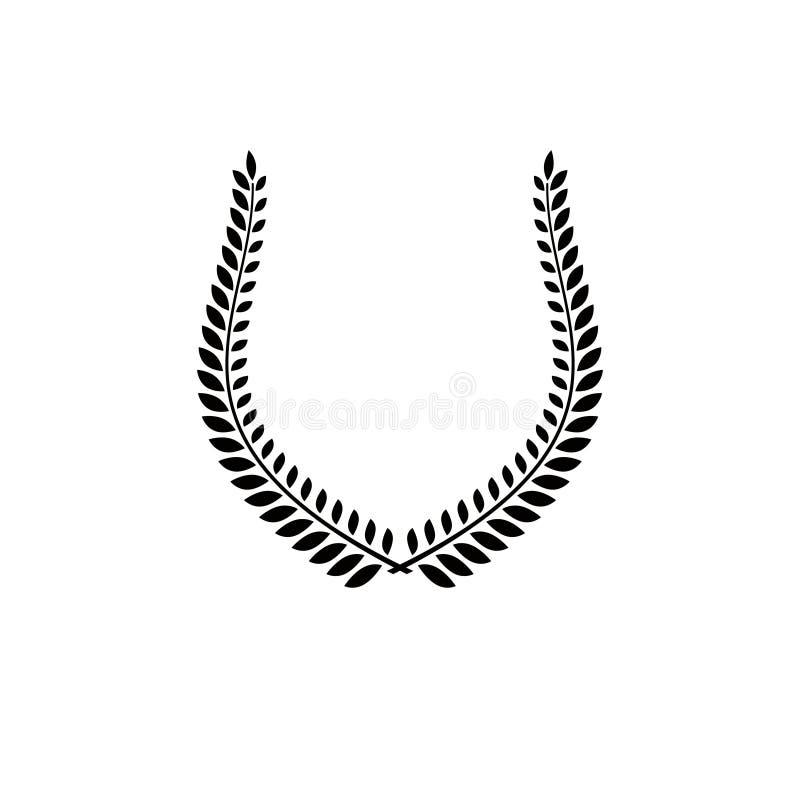 Laurowego wianku kwiecisty antyczny emblemat tworzący w podkowa kształcie ilustracja wektor