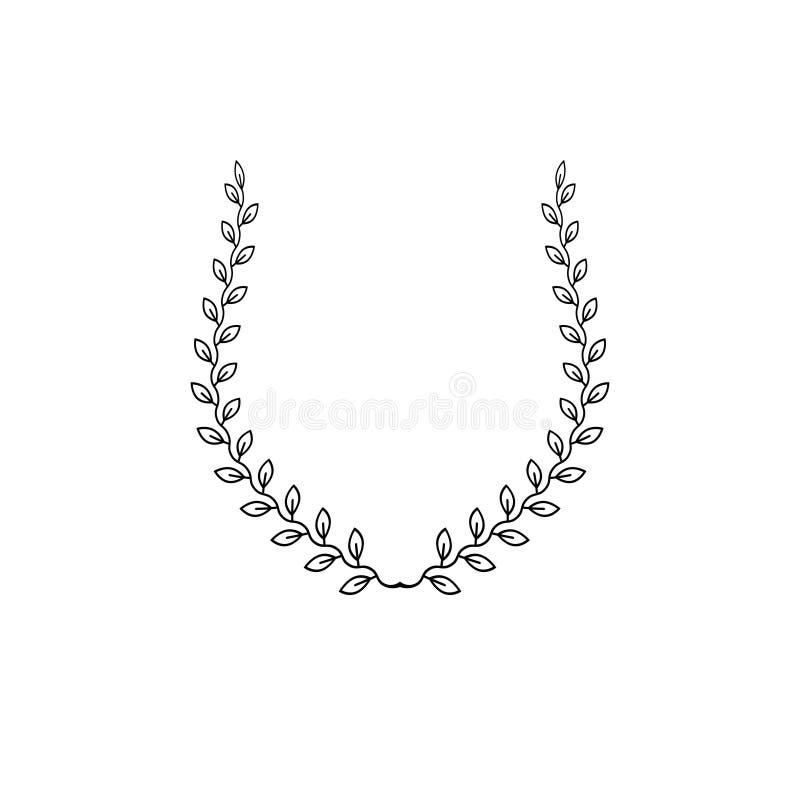 Laurowego wianku kwiecisty antyczny emblemat tworzący w podkowa kształcie royalty ilustracja