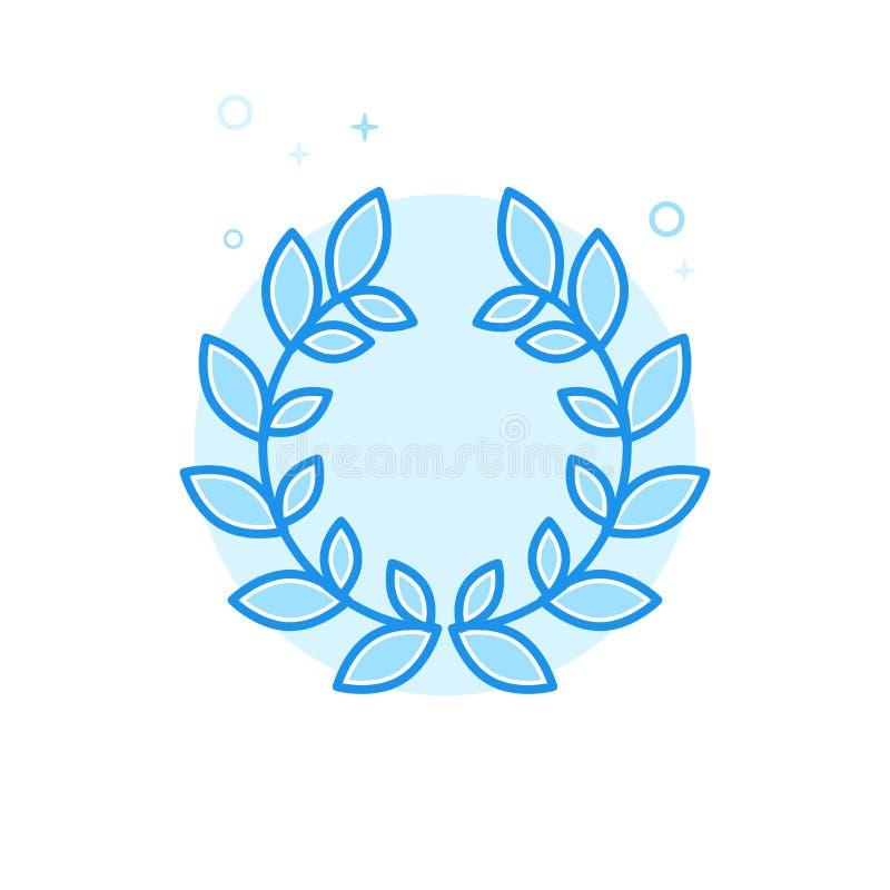 Laurowego wianku Płaska Wektorowa ikona, symbol, piktogram, znak Bławy Monochromatyczny projekt Editable uderzenie ilustracja wektor