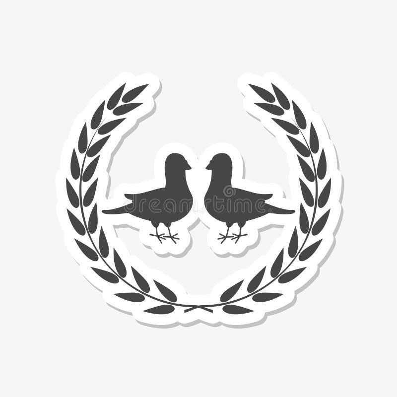 Laurowy logo z gołębia lub gołąbki majcherem royalty ilustracja