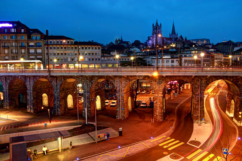 Lausana do centro, Suíça foto de stock royalty free