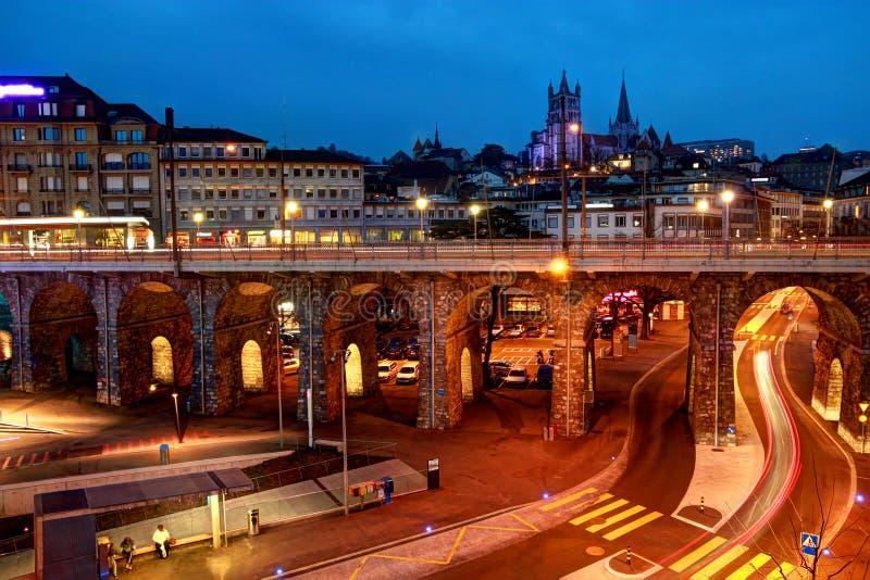 Lausanne Céntrica, Suiza Foto de archivo libre de regalías