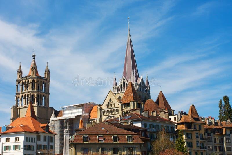 Lausanne linia horyzontu obraz stock