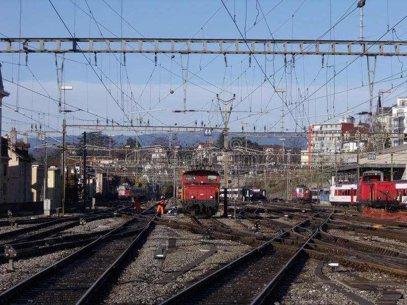 Lausanne: station stock afbeeldingen