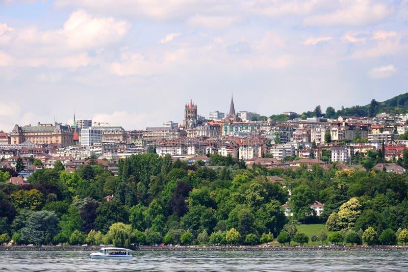 Lausanne view from Geneva lake, Switzerland stock image