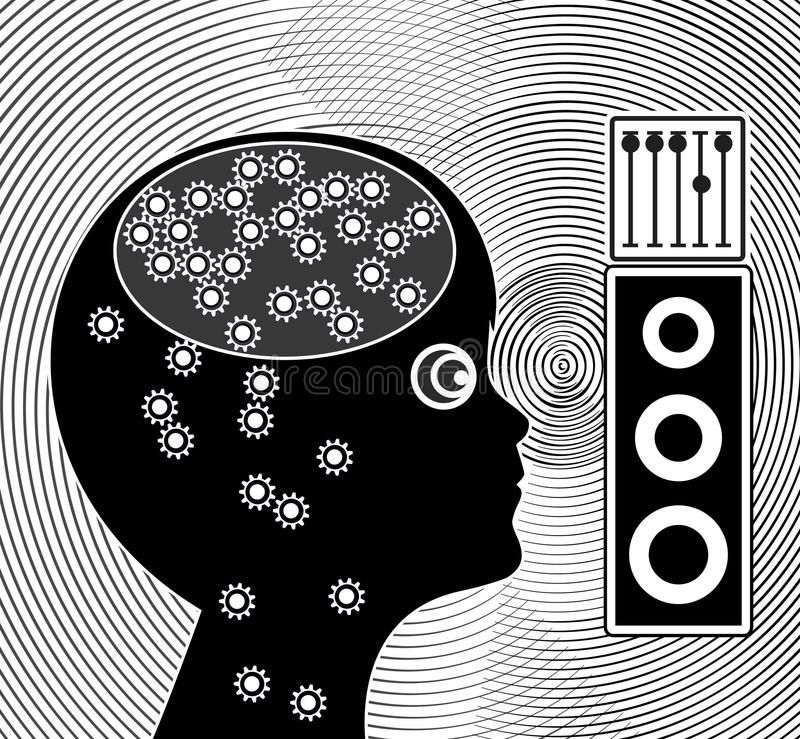 Laute Musik macht Kinder stumm lizenzfreie abbildung