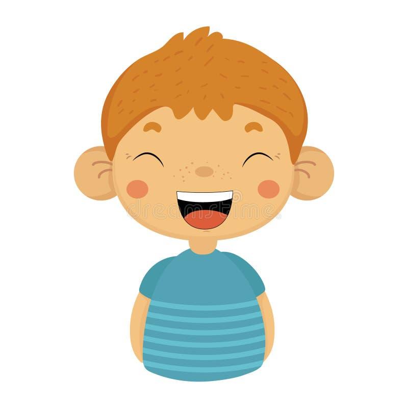 Lauten netten kleinen Jungen mit den großen Ohren im blauen T-Shirt heraus lachen, Emoji-Porträt eines männlichen Kindes mit emot lizenzfreie abbildung