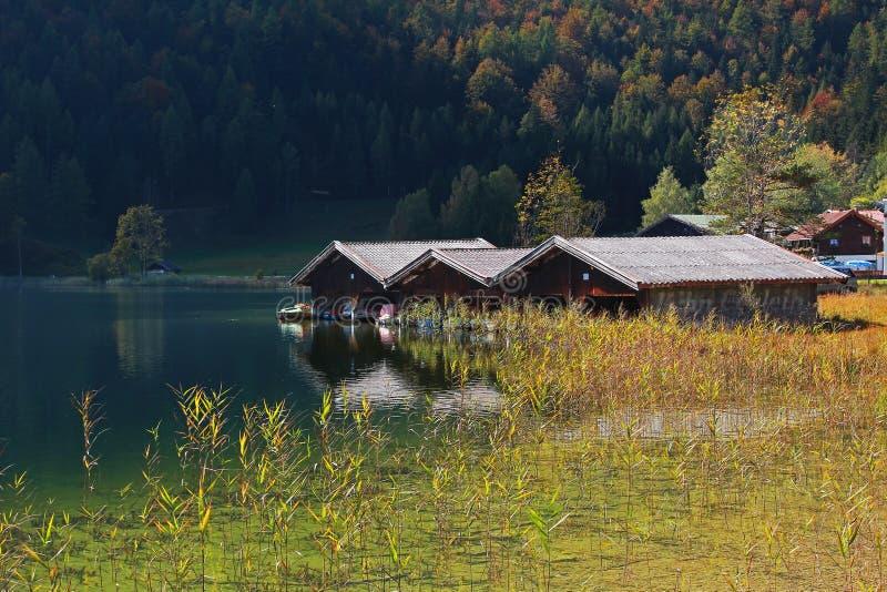 Lautersee de lac avec des hangars à bateaux photographie stock libre de droits