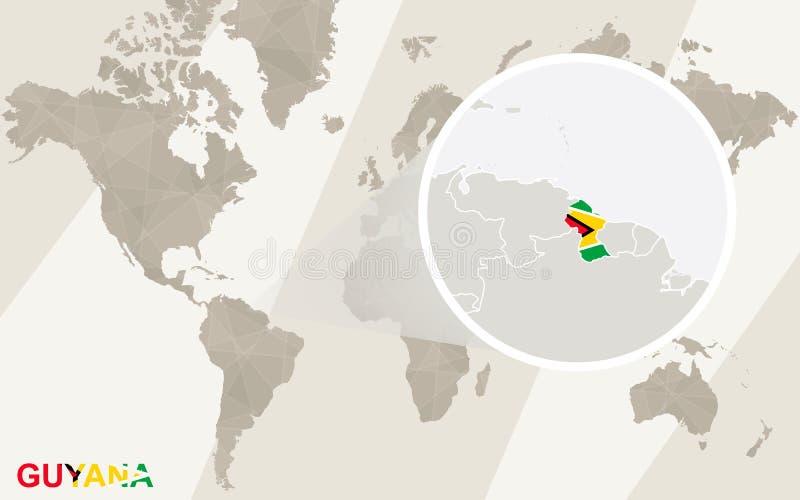 Lautes Summen auf Guyana-Karte und -flagge Karte der Welt stock abbildung