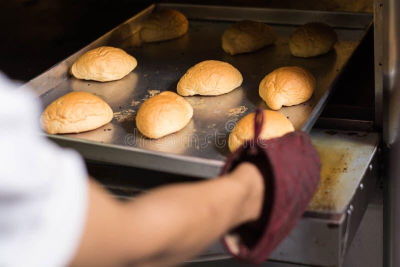 Lautes Summen der Hand mit K?chenhandschuh Brot aus Ofen heraus setzen oder nehmen hintere Ansicht der Hand frisches Brot nehmend stockfotografie