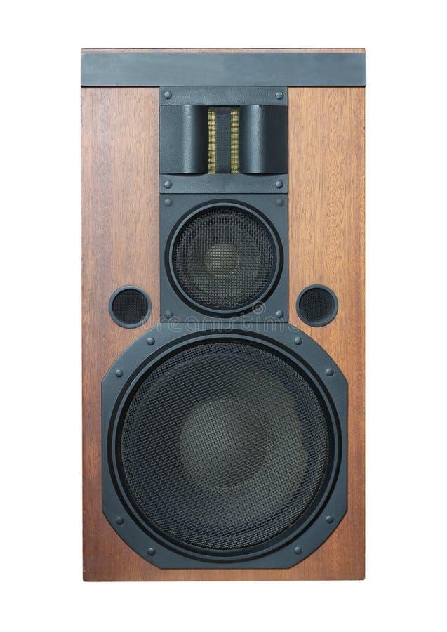Lautsprecher mit schwarzen Grills und festes Holz beendet lokalisiert stockfotografie