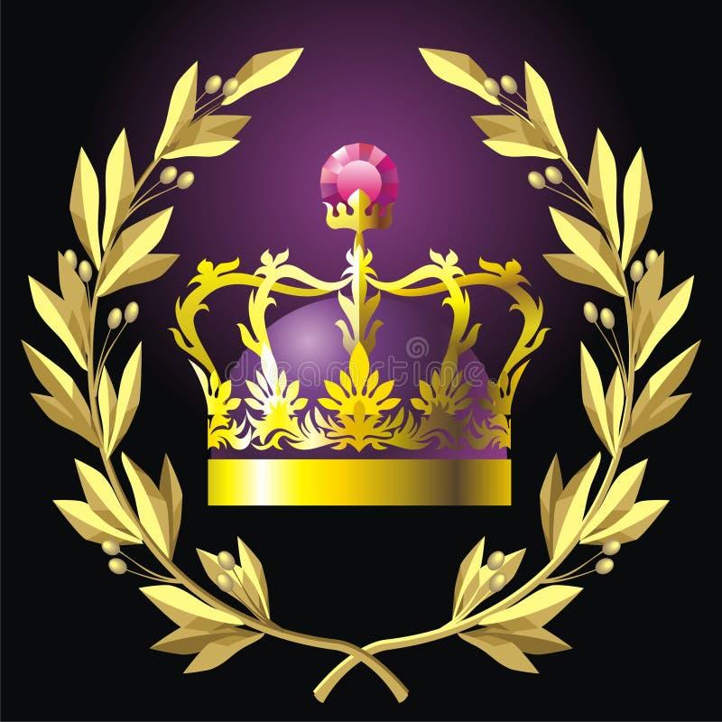 Lauwerkrans en kroon royalty-vrije illustratie