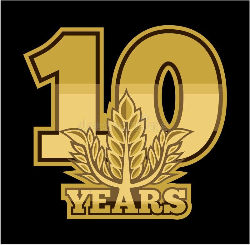 Lauwerkrans 10 jaar vector illustratie