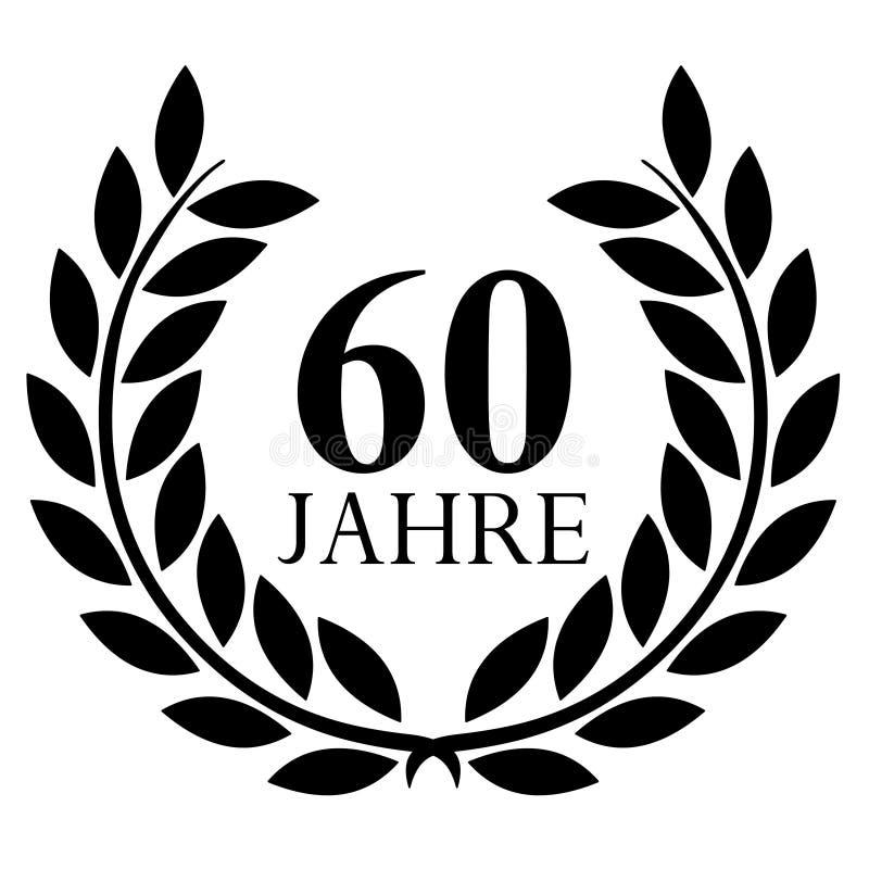 Lauwerkrans 60 jaar vector met achtergrond royalty-vrije illustratie