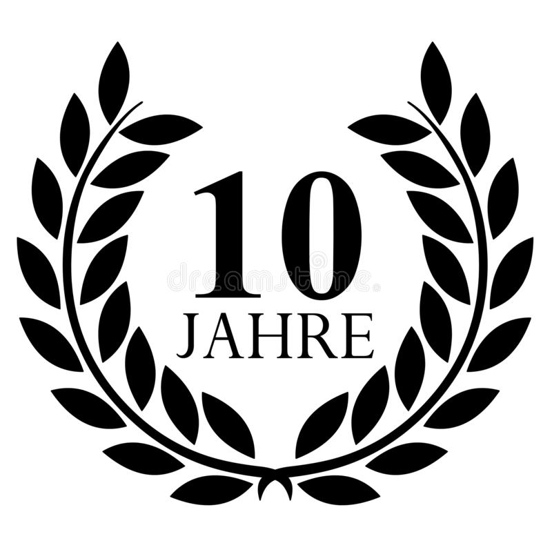Lauwerkrans 10 jahrevector met achtergrond royalty-vrije illustratie