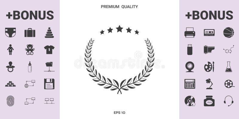 Lauwerkrans met vijf sterren - ontwerpsymbool royalty-vrije illustratie
