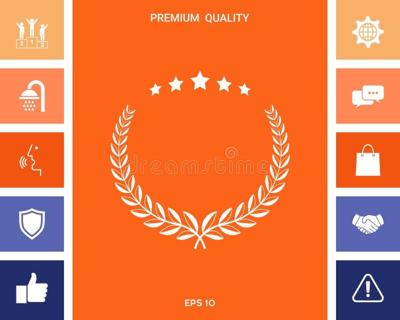 Lauwerkrans met vijf sterren - ontwerpsymbool stock illustratie