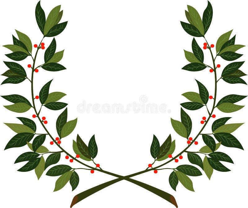 Lauwerkrans - symbool van overwinning en voltooiing vector illustratie