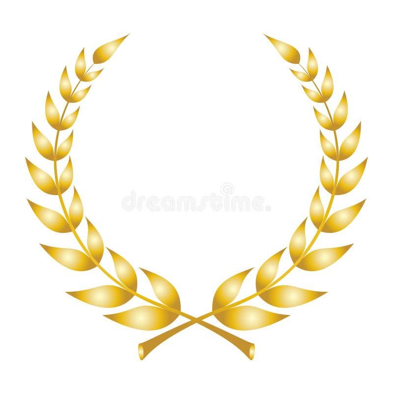 Lauwerkranspictogram Embleem van lauriertakken die wordt gemaakt stock illustratie