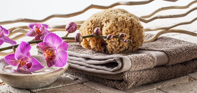 Lavándose encima de concepto con la esponja natural, toalla del algodón, madera de la deriva imagen de archivo