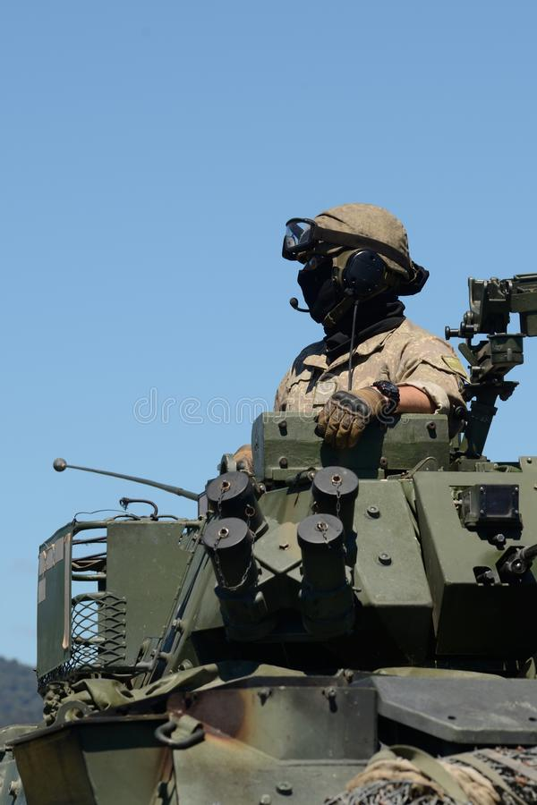 LAV crewman looking out at open day for nz army royalty free stock photos