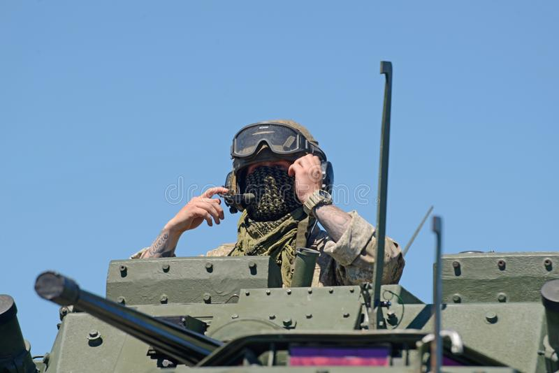 LAV crewman ready to depart stock images