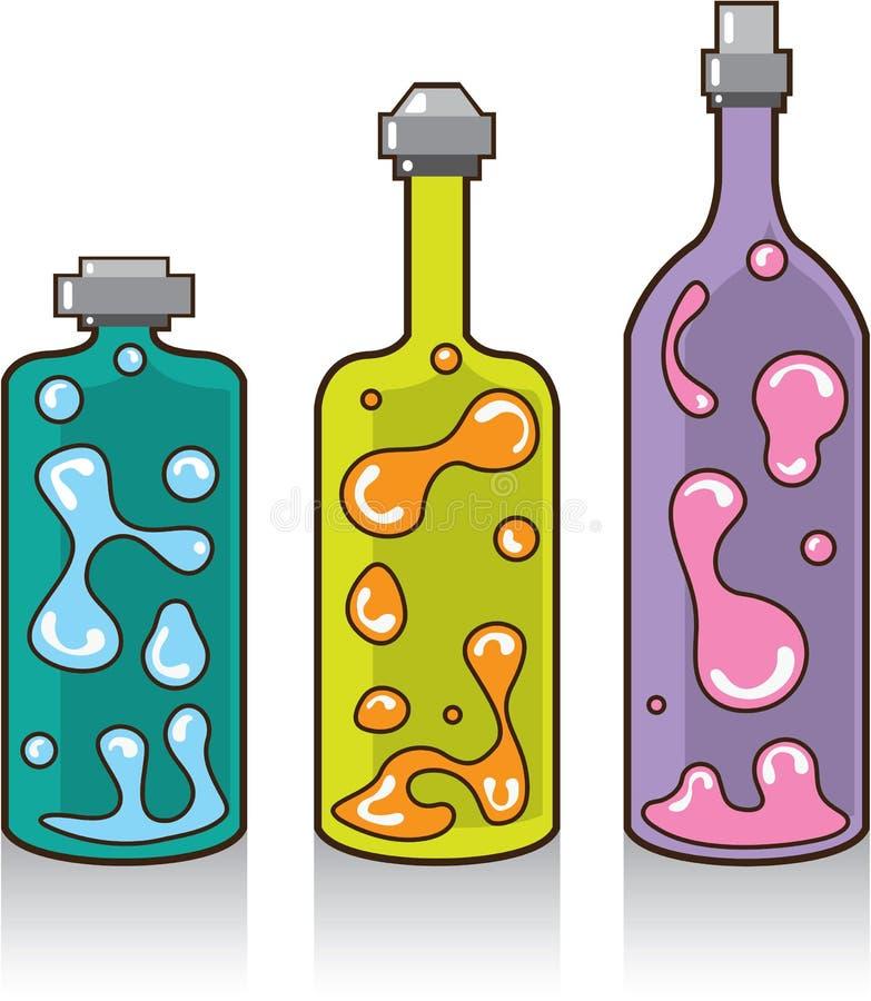 Lava Bottles. improvised Lamps. vector illustration