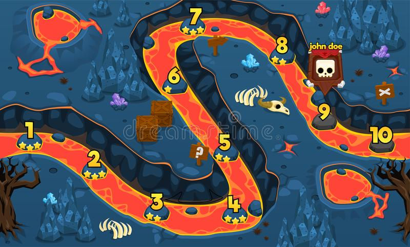 Lava Cave Game Level Map ilustração royalty free
