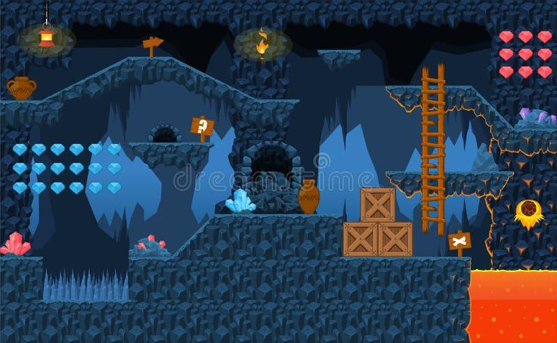 Lava Cave Platformer Tileset illustrazione di stock