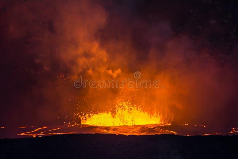 Lava d'ebollizione in vulcano di Kilauea immagine stock libera da diritti
