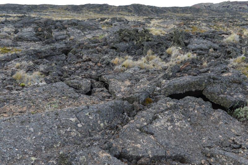 Lava de basalto no parque nacional Pali Aike fotos de stock royalty free