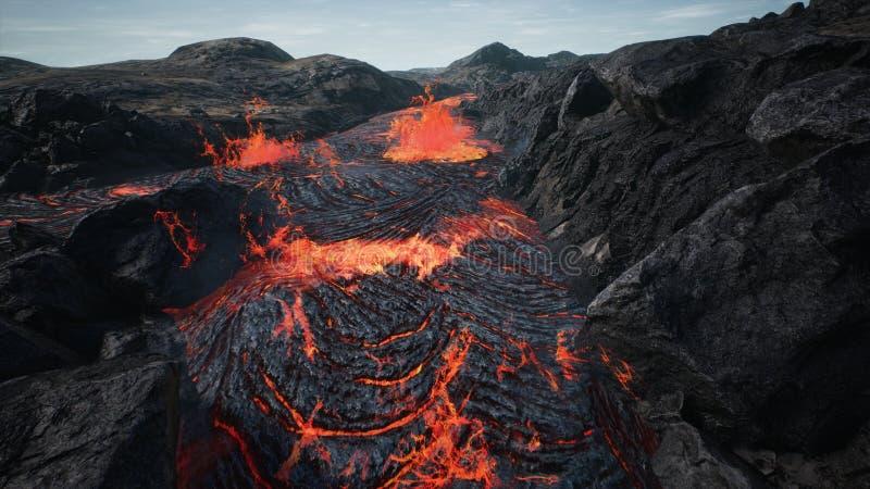 Lava die van de uitbarsting van de vulkaanlava stromen het 3d teruggeven stock afbeelding