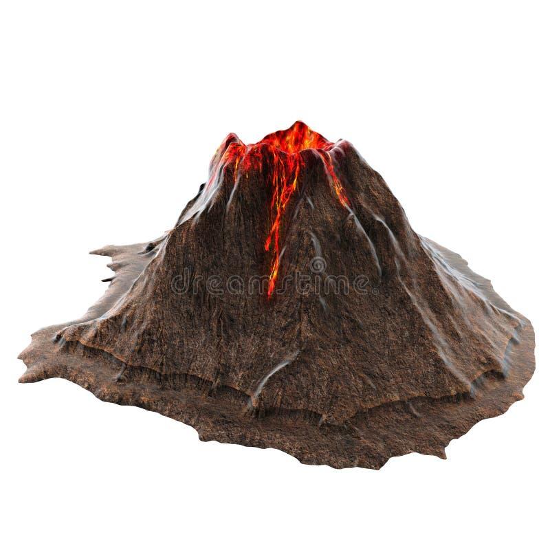 Lava do vulcão sem fumo no isolatedbackground ilustração 3D ilustração stock