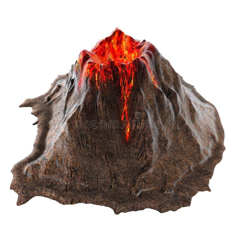 Lava do vulcão sem fumo no isolatedbackground ilustração 3D ilustração royalty free