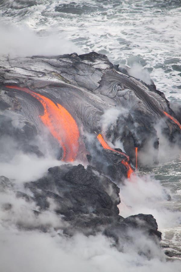 Download Lava Erupting Into Pacific Ocean In Hawaii Stock Image - Image: 24854479