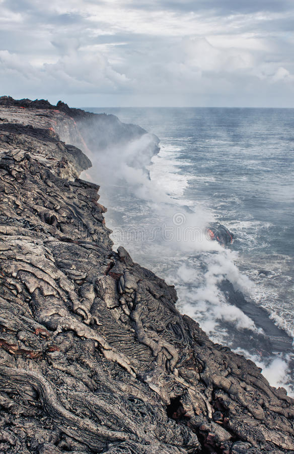 Download Lava Erupting Into Pacific Ocean In Hawaii Stock Photo - Image: 25476216