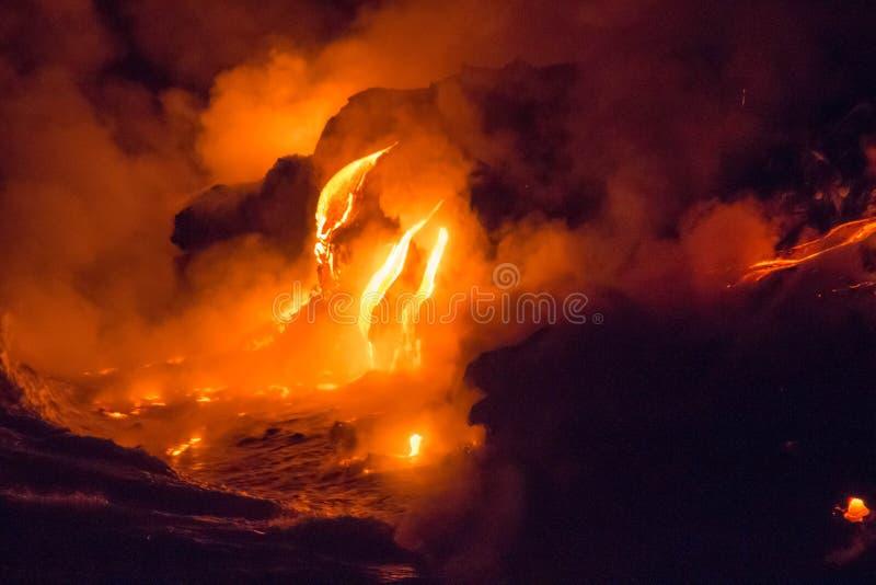 Lava flaw on a Big Island. Lava flaw comes to the ocean on a Big Island, Hawaii, USA stock photo