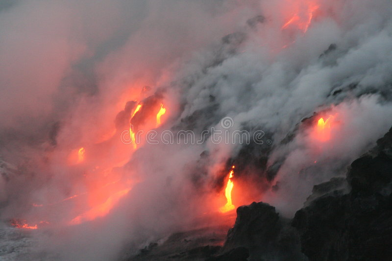 Lava flow 3. Kilauea volcano lava flow, Hawaii stock photos