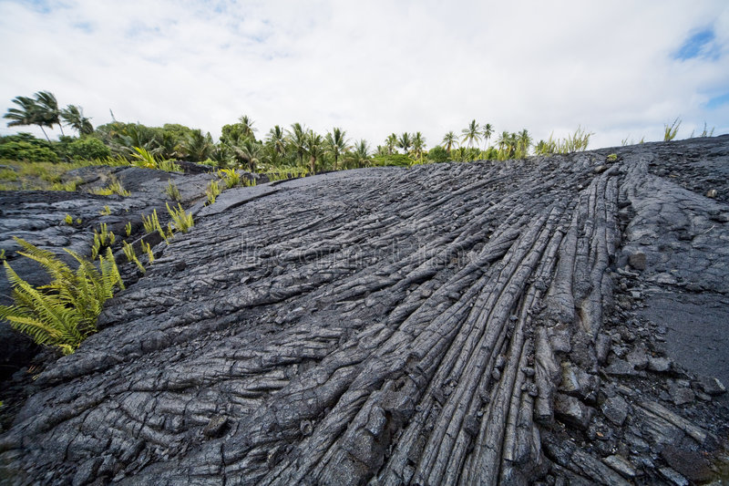 Lava Flow. Hardened lava flow of the pahoehoe variety royalty free stock photos