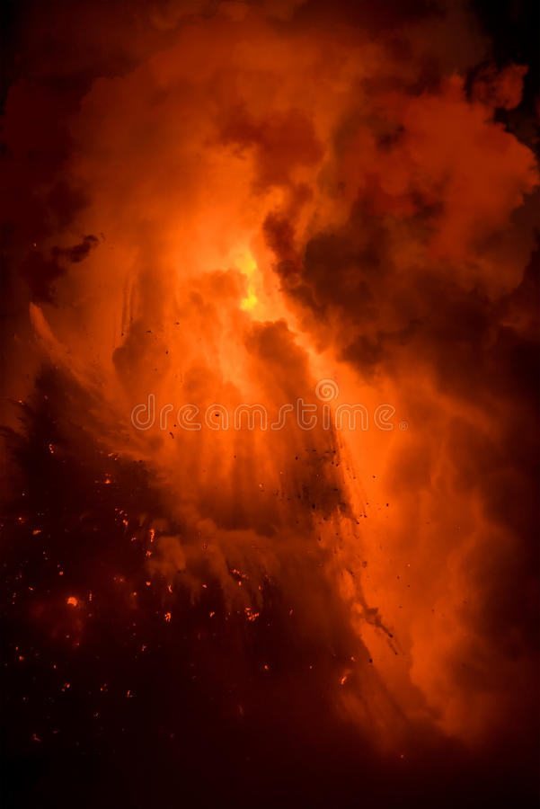 Lava flow explosion in Hawaii stock photo
