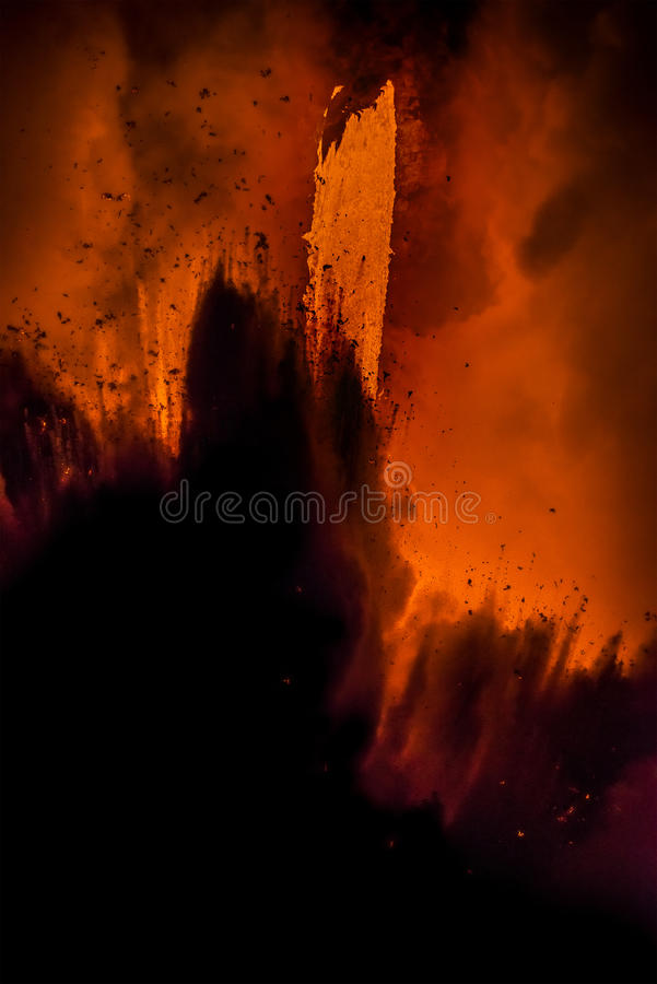 Lava flow in Hawaii. A lava flow on the big Island of Hawaii known as the fire hose spews out molten magma from Kilauea Volcano into the ocean, causing royalty free stock image