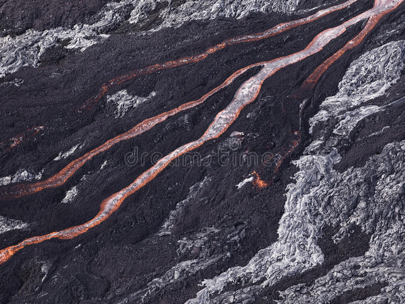 Lava flow at Hawaii Volcano National Park royalty free stock image