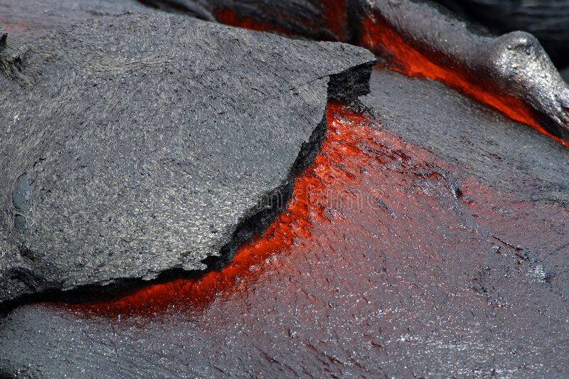 Lava Flow - Hawaii Volcanoes National Park. The red hot tip of a lava flow from the Kilauea Volcano in Hawaii Volcanoes National Park near Hilo on the Big Island stock photos