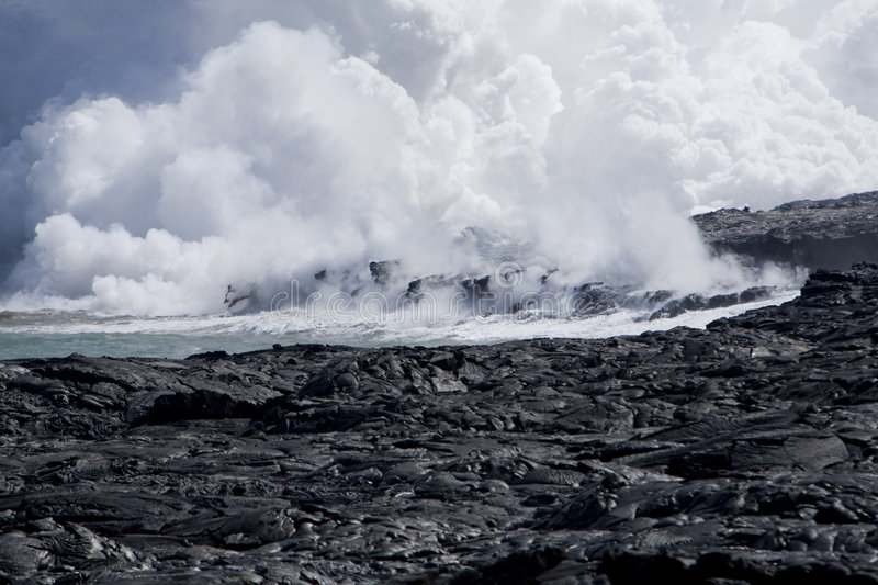 Lava Flow at Ocean stock photography