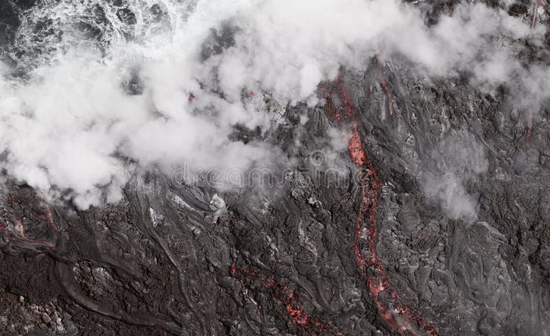 Lava Flow Into The Ocean, Hawaii stockfotografie