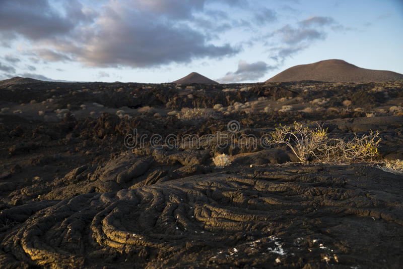 The lava flow. Lava streams at Restinga, El Hierro, Canary Islands, Spain royalty free stock photography