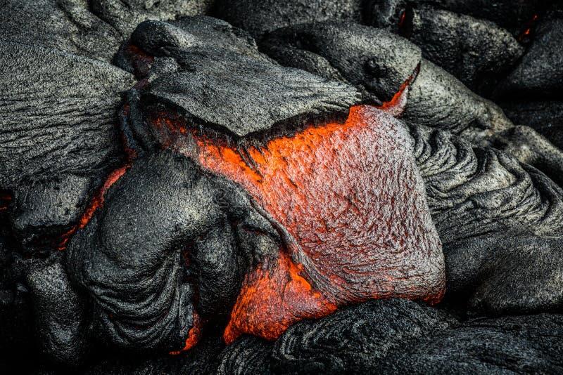 Lava on Hawaii`s Big Island. Lava flows to create new island on the Big Island of Hawaii stock images