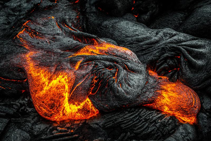 Lava on Hawaii`s Big Island. Lava flows to create new island on the Big Island of Hawaii royalty free stock image