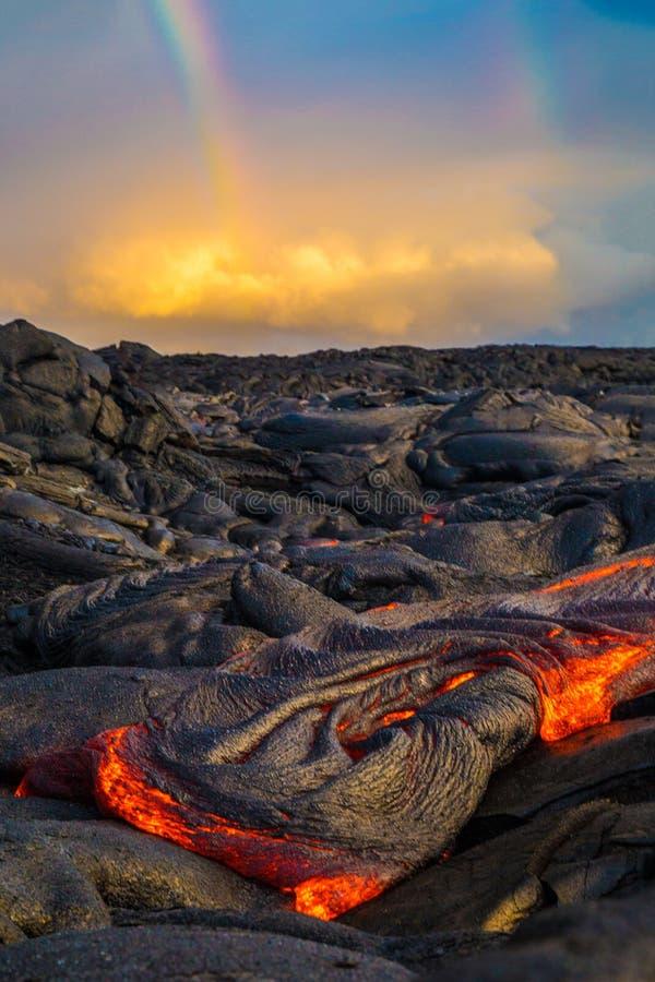 Lava on Hawaii`s Big Island. Lava flows to create new island on the Big Island of Hawaii stock photo