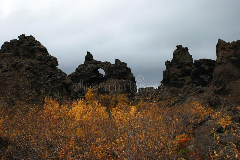 Kissing Trolls in Lava. A lava formation in Iceland called the kissing trolls royalty free stock images